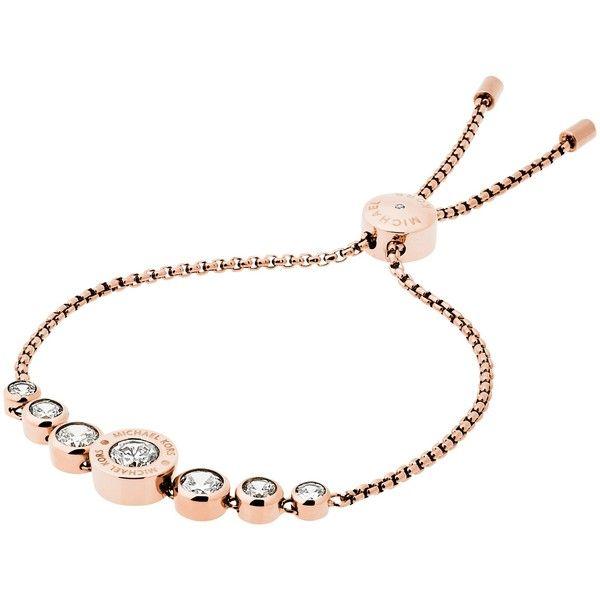 2fa6b5c7274d Michael Kors Logo Crystal Adjustable Bracelet , Rose Gold ($125) ❤ liked on  Polyvore featuring jewelry, bracelets, rose gold, michael kors, crystal  bangle, ...