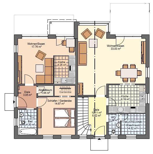 kowalski haus einfamilienhaus mit einliegerwohnung celine 200 grundriss eg schubis welt. Black Bedroom Furniture Sets. Home Design Ideas