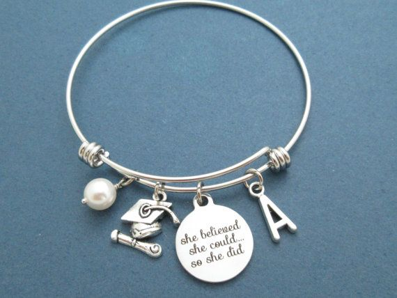 Personalized Letter Initial Pearl Graduation Bangle by Gliget