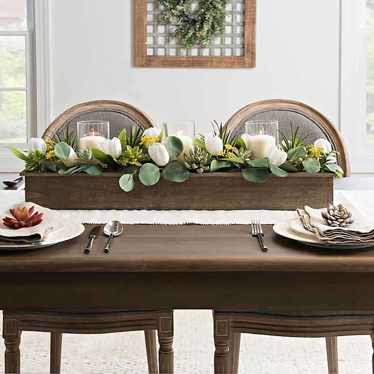 Tulip Succulent And Greenery Mixed Centerpiece Kirklands Dinning Room Centerpieces Dinning Table Centerpiece Dining Room Table Centerpieces