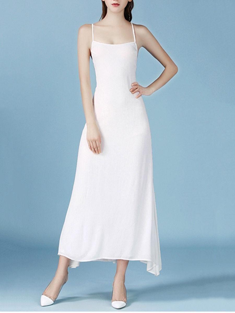 Fashionmia - Fashionmia Spaghetti Strap Lace-Up Plain Maxi Dress ...