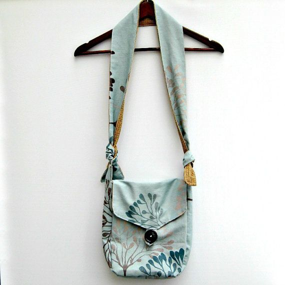 Womans Handmade Fabric Messenger style bag, Medium Size, Duck Egg Blue, Adjustable Strap £25.75