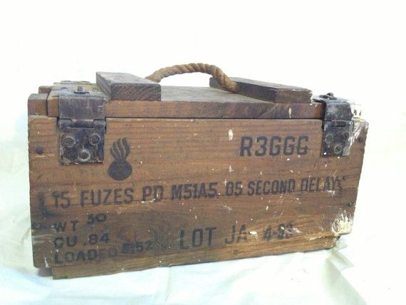Antique Wooden Explosives Crate Dynamite Case by