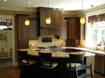 Amish Custom Kitchens   Traditional   Traditional   Dark Cabinets And White  Trim On Windows,