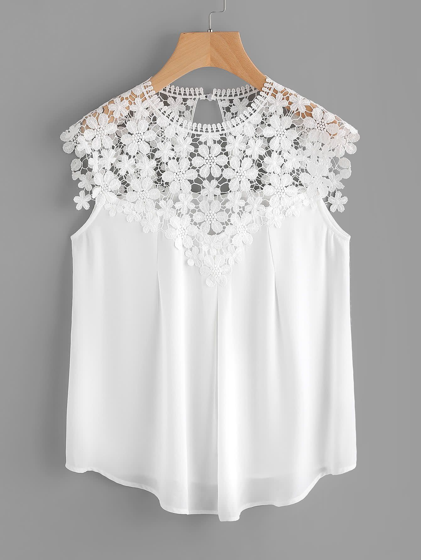 Keyhole Back Daisy Lace Shoulder Shell Top WHITE | Blusas, Patrones ...