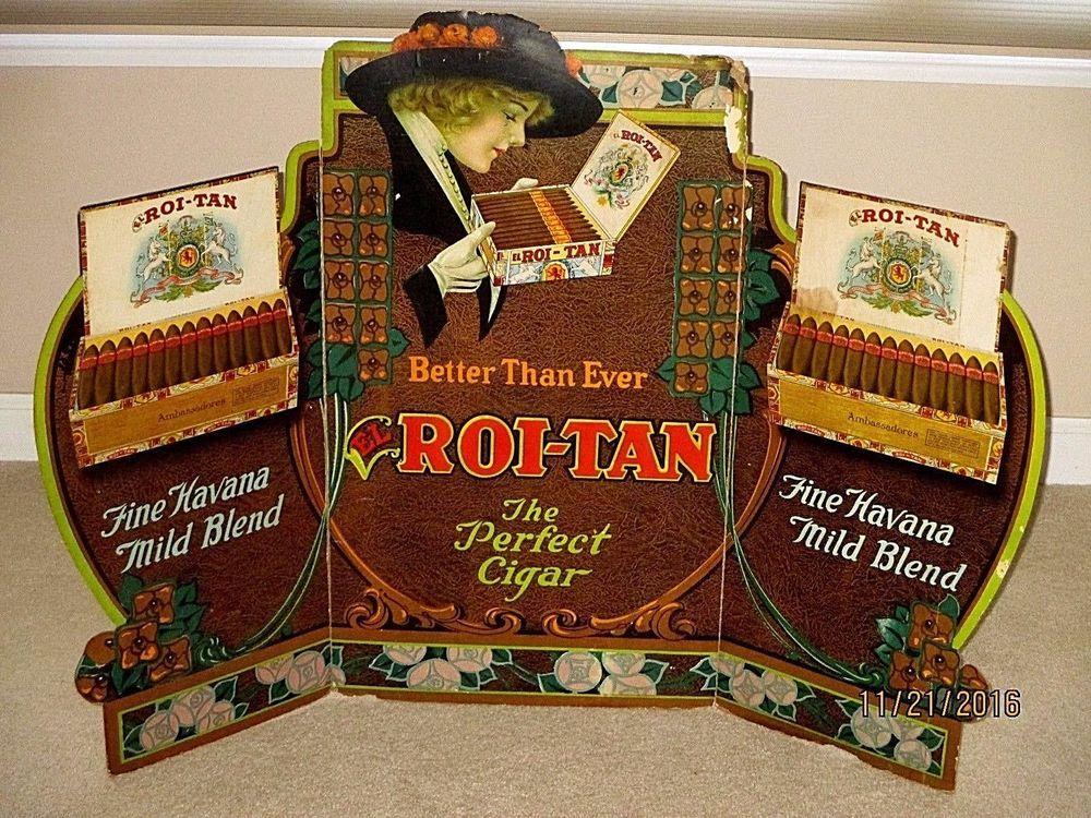 rare roi tan perfect cigar store tri fold window display sign 41