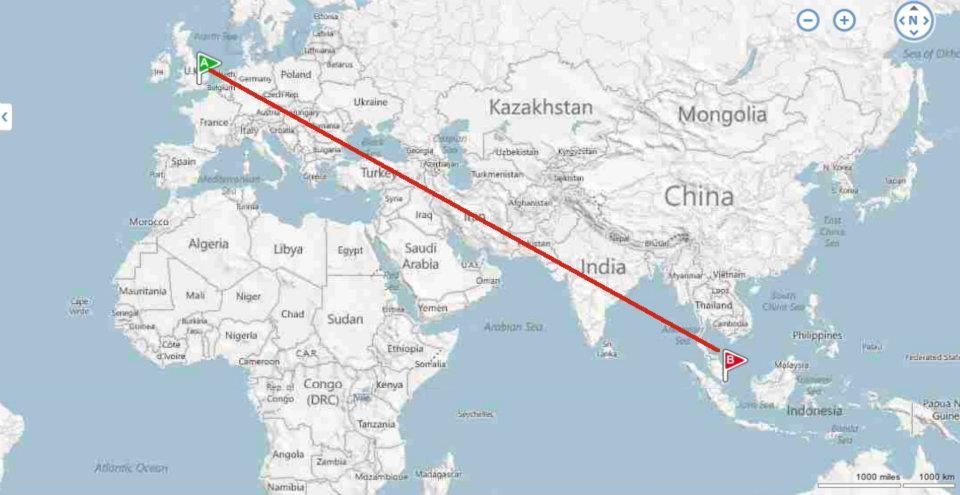 Map of route between London & Singapore. Singapore (also ...