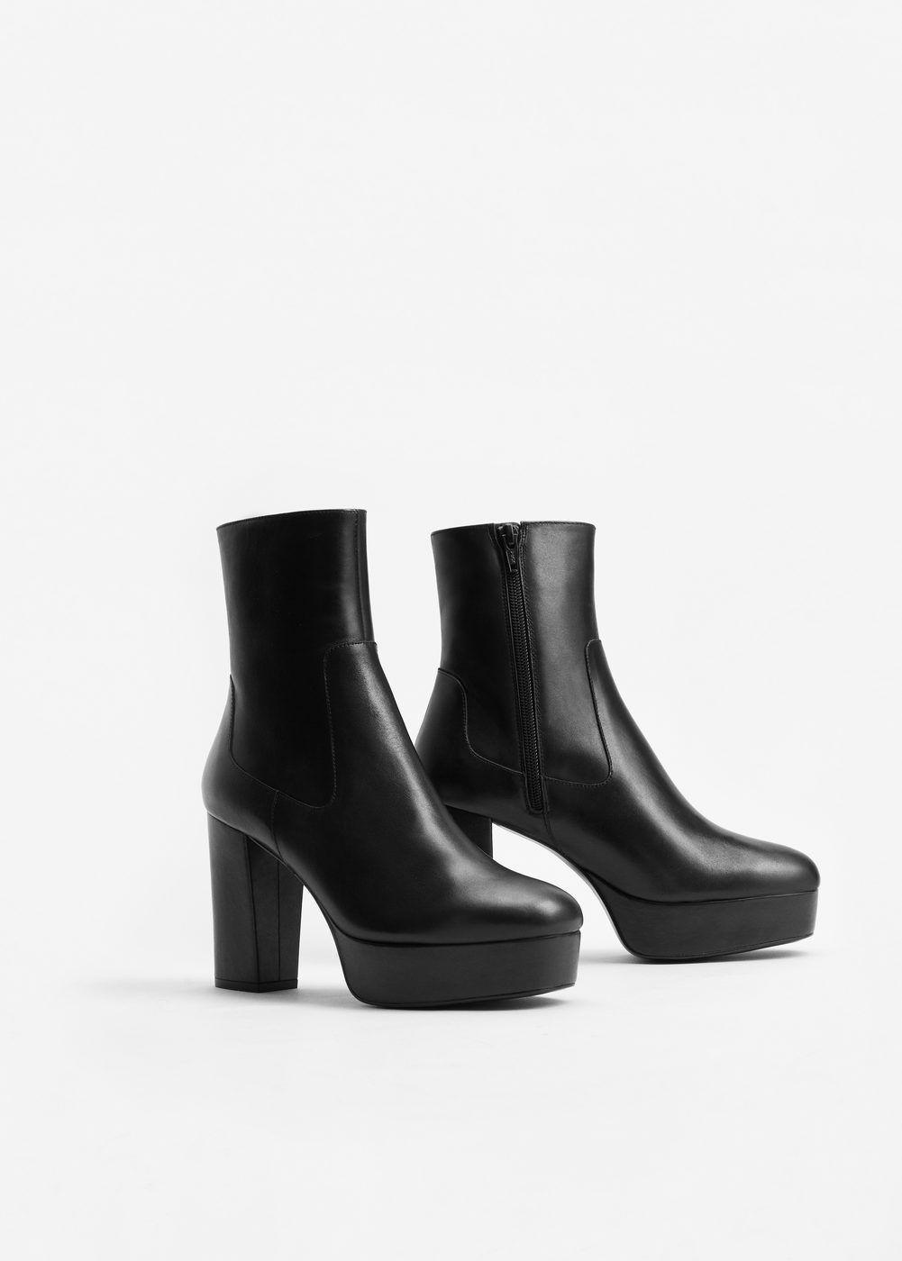 bottines cuir plateforme | chaussures pour femmes, mango france et