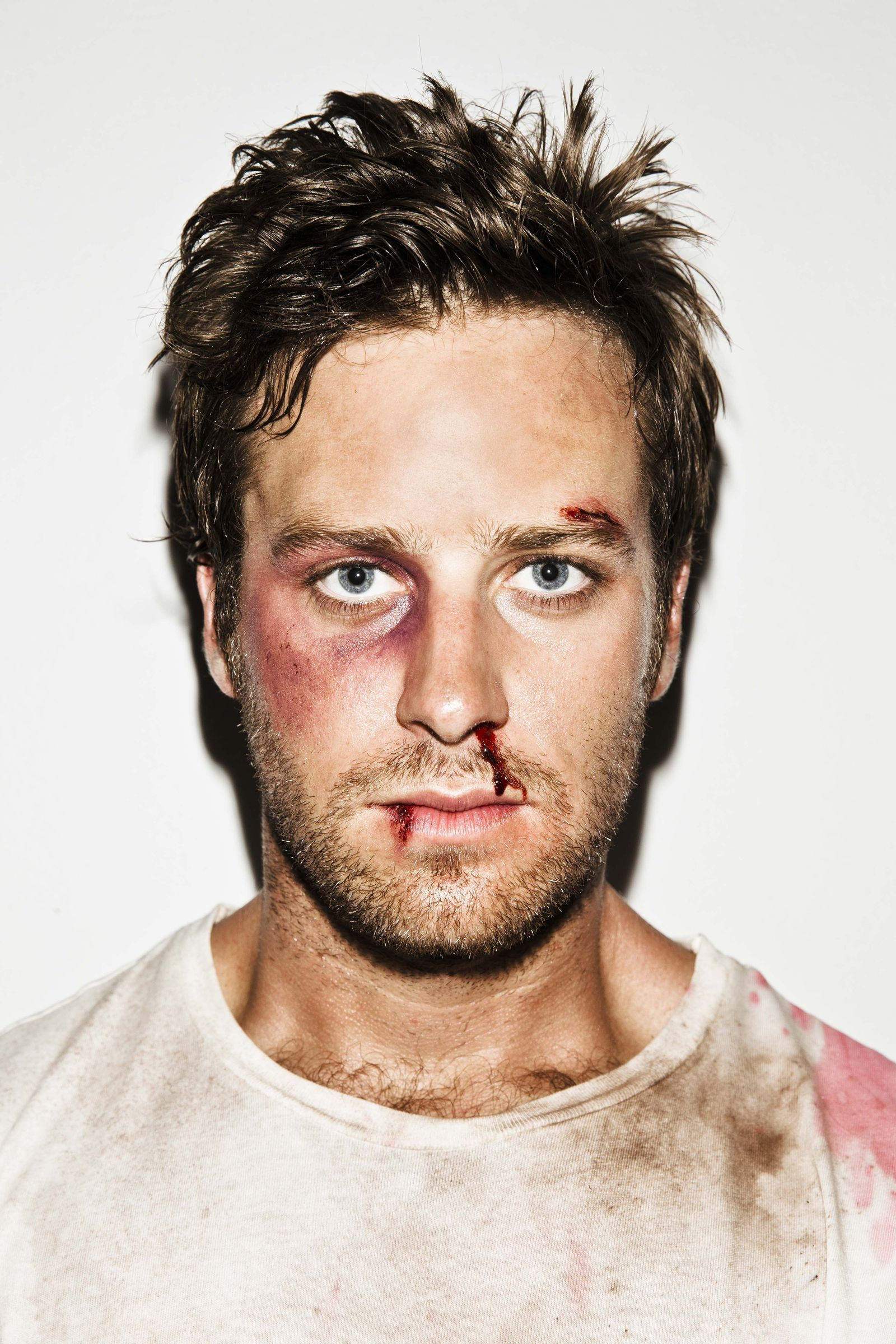 Armie Hammer bloodied, beaten for shoot | Face off makeup ...