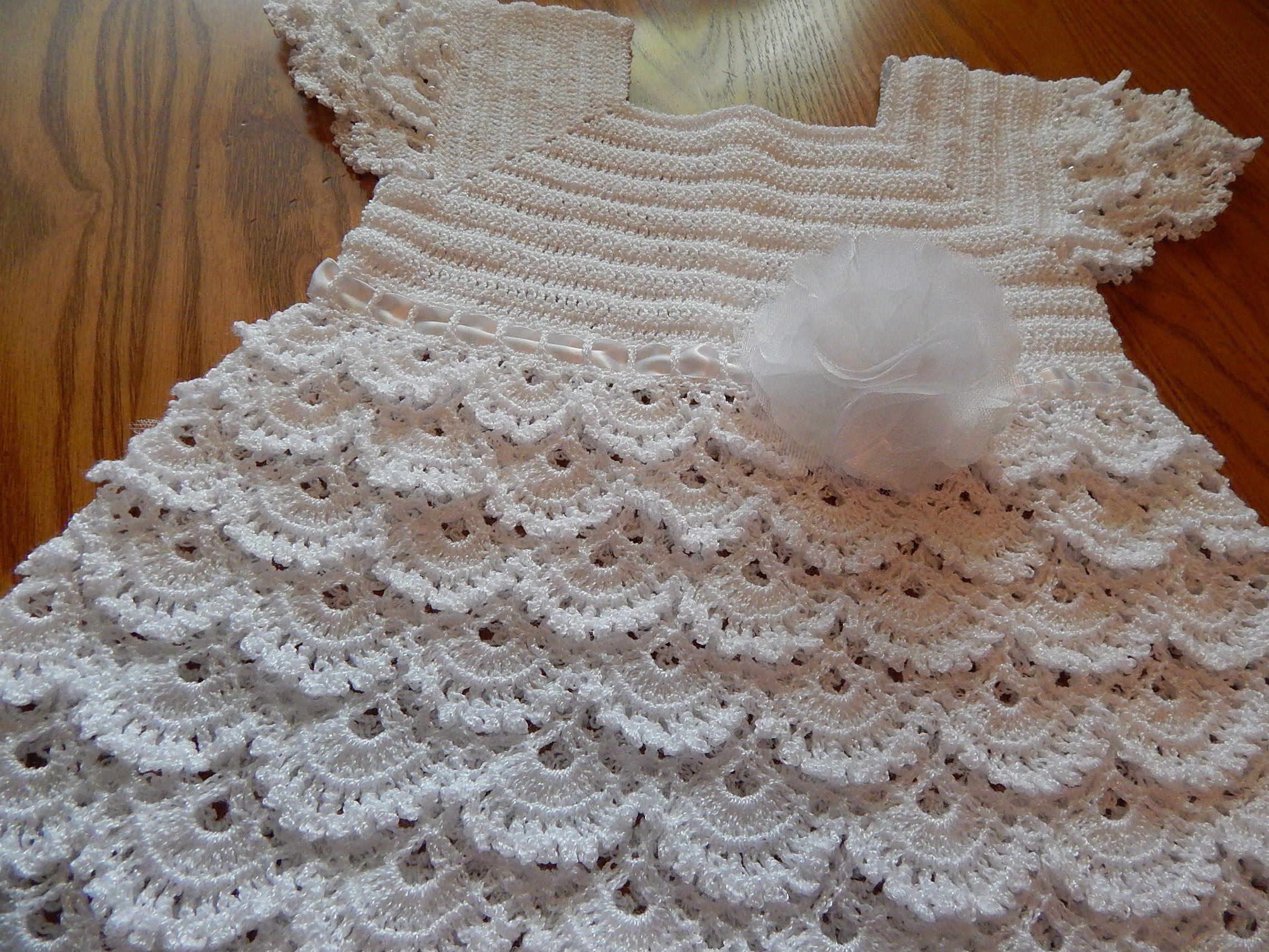 f7aa0caf8 Vestido Blanco Crochet parte 2 de 3 | vestdos tejidos niña ...
