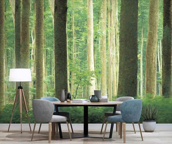 Painting Style Forest Wallpaper Removable Green Tree Wall Mural For Home Hallway Bedroom Office Wall Fabric Wall Decor Tree Wall Murals Forest Wallpaper