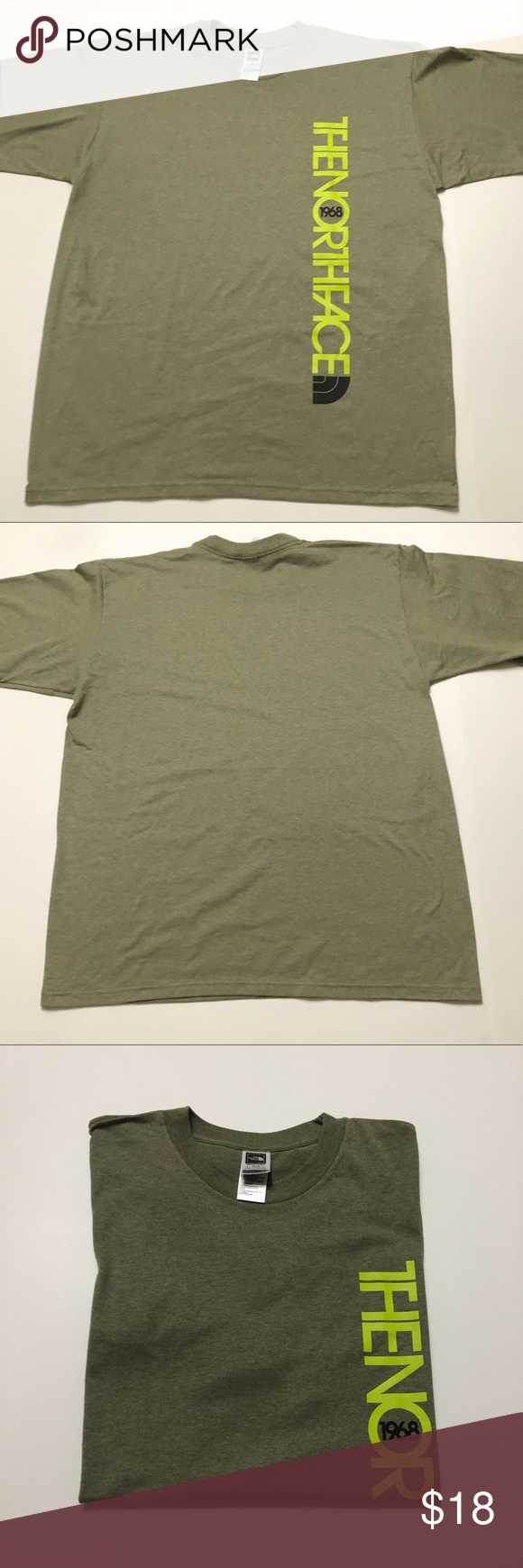 The Northface 1968 Spell Out Army Green T Shirt North Face Shirts The North Face Shirts