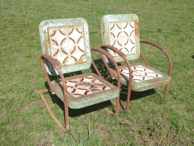 Pie Crust Design Vintage Metal Chairs Both Are Rocking