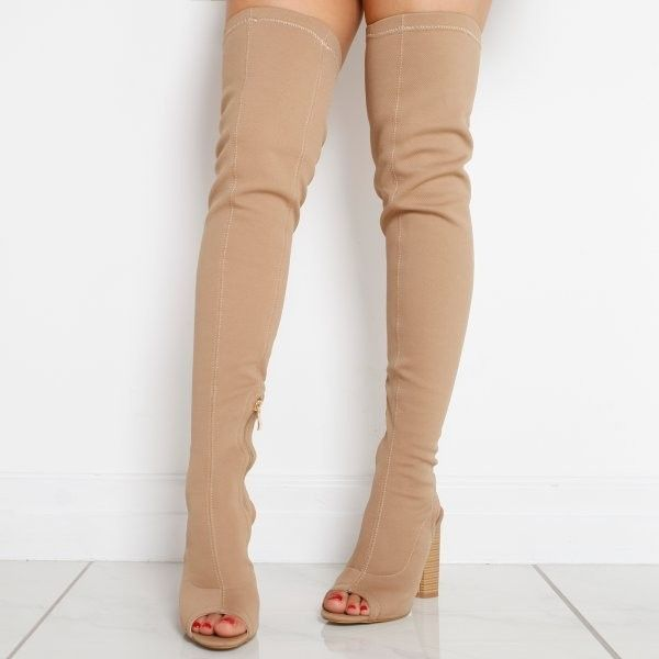 rivea cut out heel open toe thigh high boots in beige