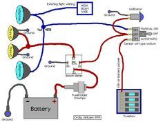 Off road lights wiring diagram alternate com pinterest diagram electrical and electronics engineering driving lights wired to high beams cheapraybanclubmaster Gallery