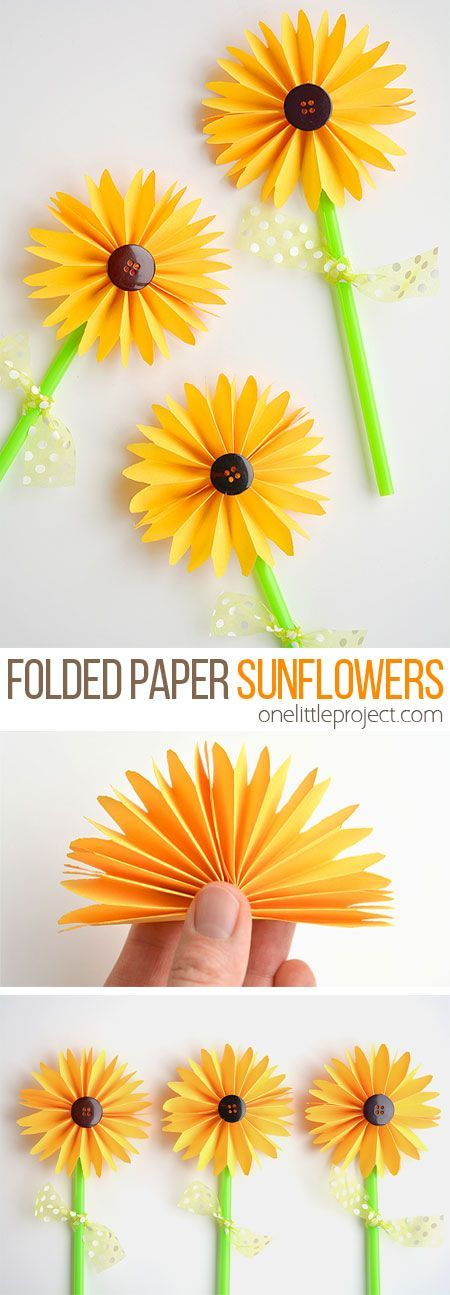 Photo of How to Make Folded Paper Sunflowers – One Little Project
