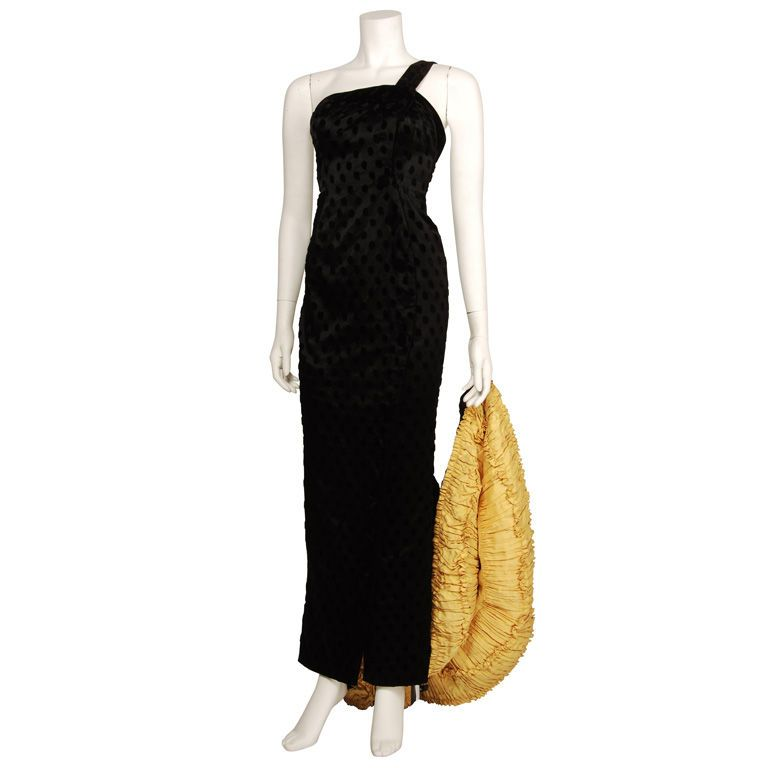 1stdibs.com | Patou 1930s Black Satin and Velvet Gown with Train