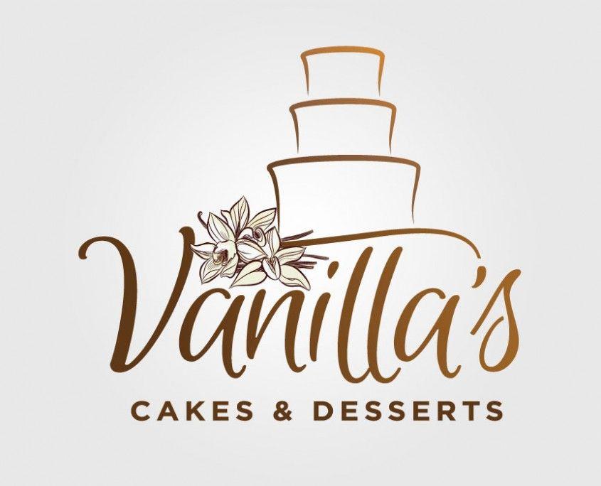 vanillas cakes amp desserts logo design branding