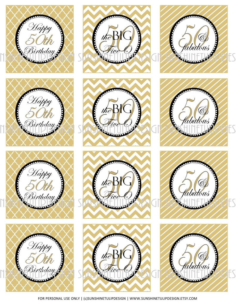 The Big 5 0 Printable DIY 50th Birthday Cupcake Toppers Sticker Labels In Gold Stripes Argyle And Chevron