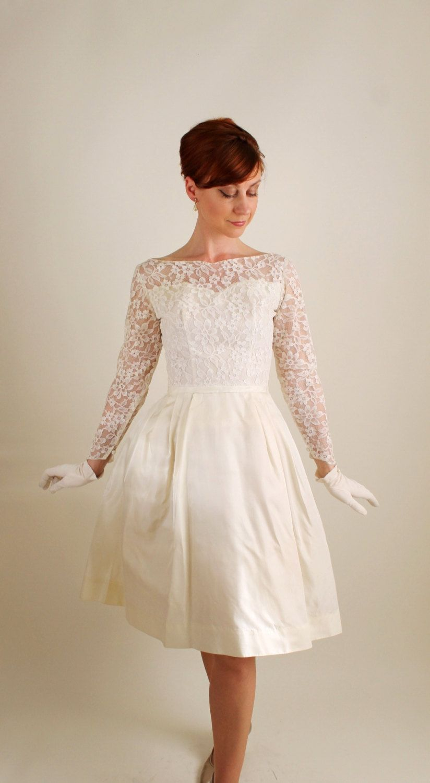 1960s Cream Lace Short Wedding Dress Mad Men Fashion Summer Size Small