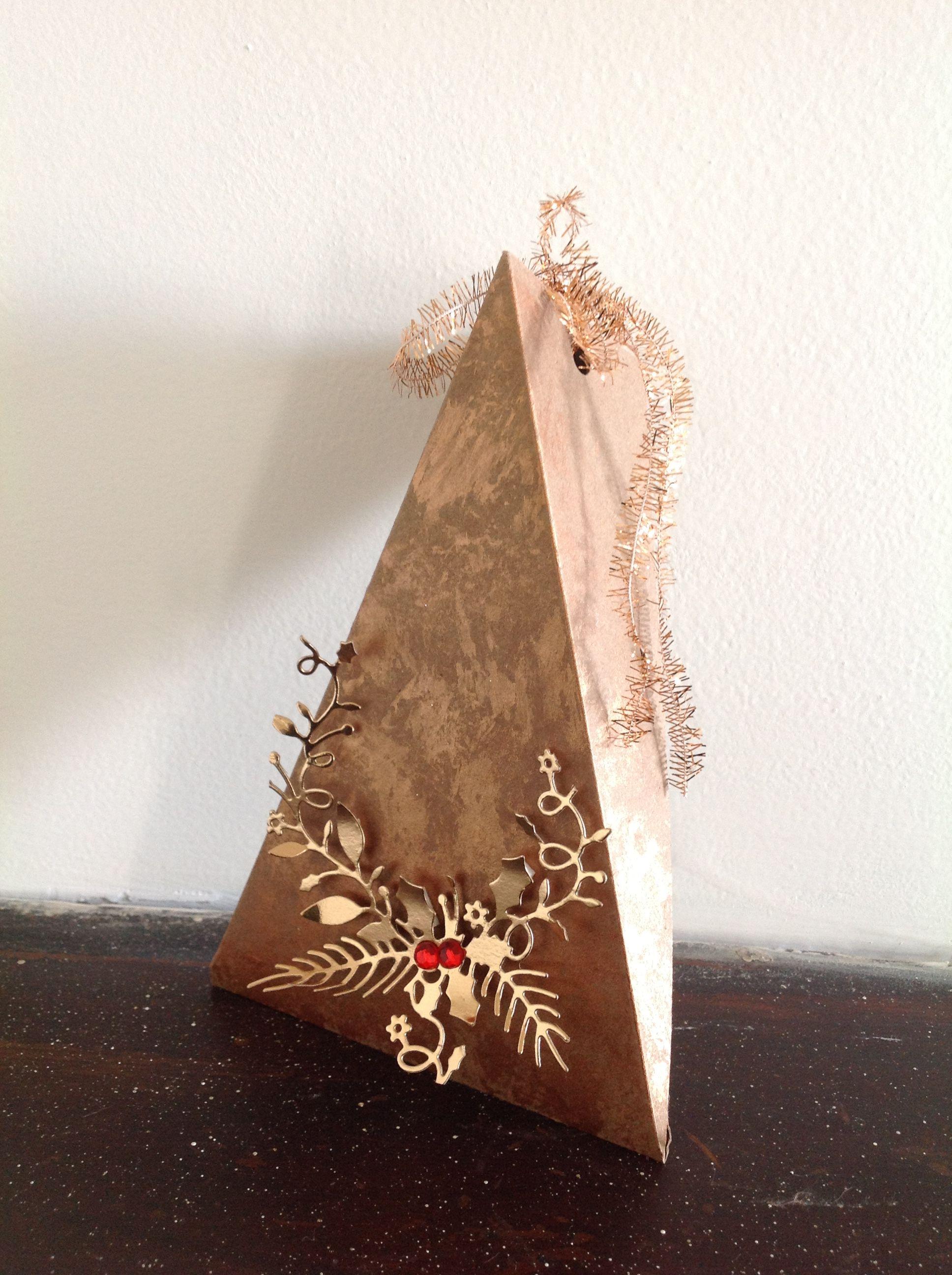 Pyramid box embellished, copper tones. Memory Box die.