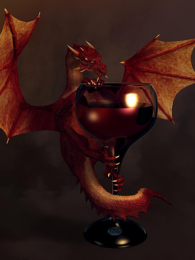 Red Wine Dragon Digital Art by Daniel Eskridge