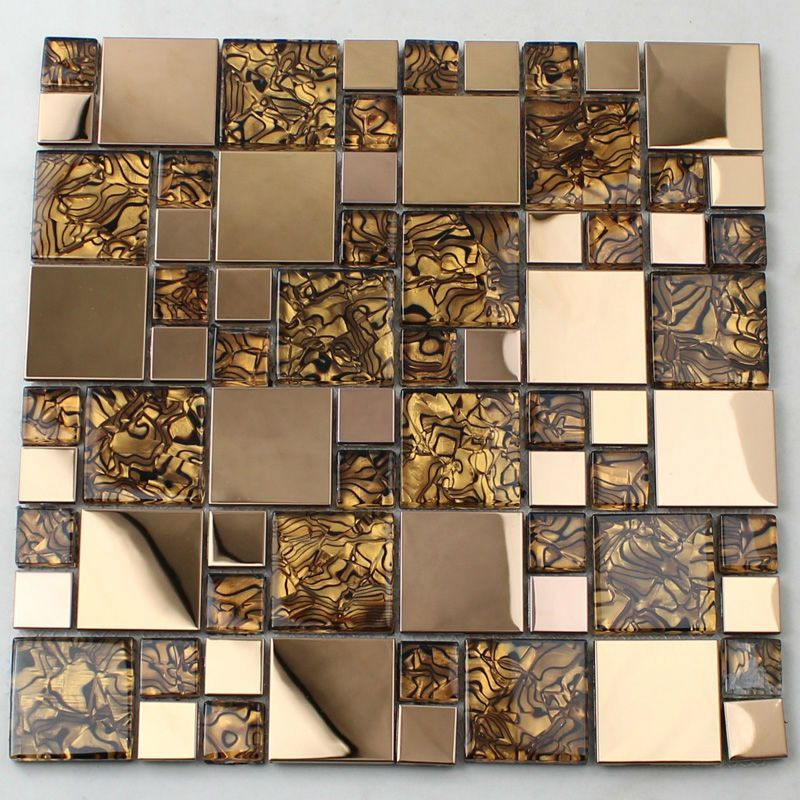 gold glass tile backsplash stainless steel wall crystal glass metal ...