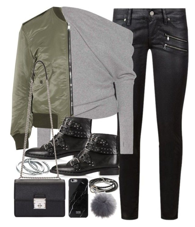 """""""Outfit with leather trousers and a bomber jacket"""" by ferned ❤ liked on Polyvore featuring Paige Denim, Tom Ford, Yves Saint Laurent, Fiorelli, Topshop, Dolce&Gabbana, Native Union and Banana Republic"""