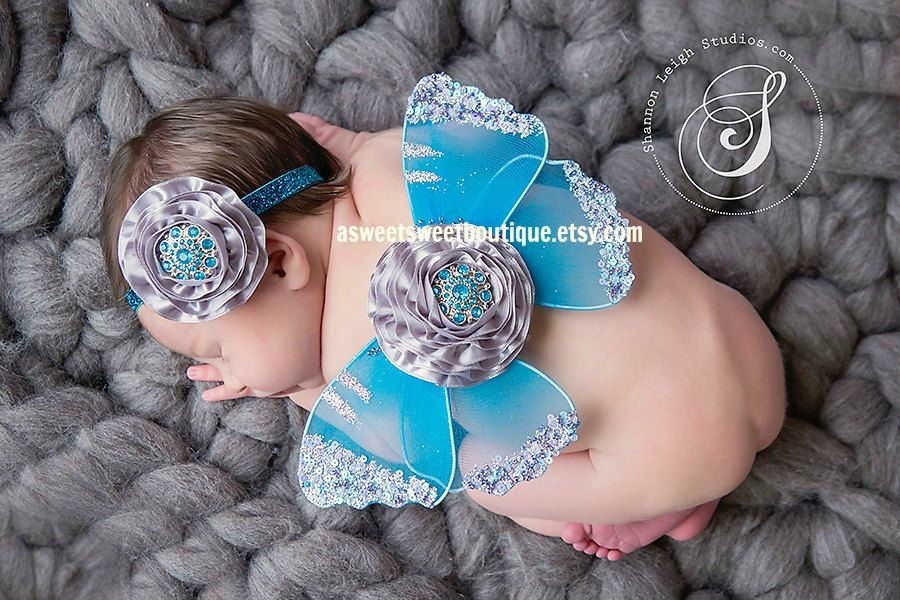 Baby Wings Sweet Ocean Mist Wings And Headband Set From The Sweet Fairy Fancy Collection Beautiful Newborn Photo Prop. $25.00, via Etsy.