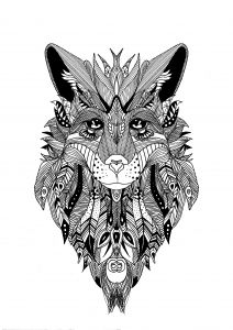 Coloriage Zentangle Loup Krissy Adult Coloring Free Adult
