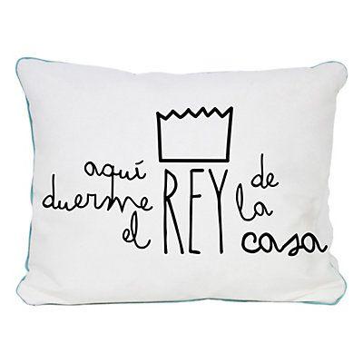 Really Nice Things - Cojín Aquí Duerme Rey blanco y negro 50 x 5 x ...