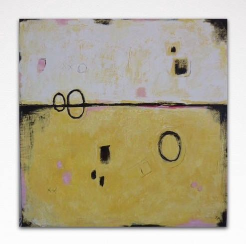 Large Abstract Texture Painting on Canvas, Original yellow white ...