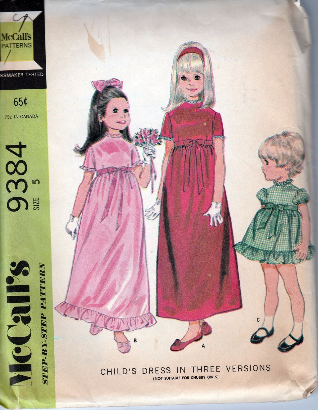 McCall\'s 9384 Vintage 1960\'s Sewing Pattern Little Girls Flower Girl ...