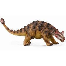"Each of the Collecta deluxe models comes with a little plastic palaeontologist know as ""Sir Arthur Gauge"".  Sir Arthur comes complete with pickaxe and binoculars and provides scale for each model.  This really allows the size of the Ankylosaurus to be appreciated.   CollectA's replica of the Ankylosaurus is lifelike and realistic down to its oddly shaped horns and the massive knobs on its skin. The knobby, bony plates probably served as armor that helped to protect the Ankylosaurus. Many…"