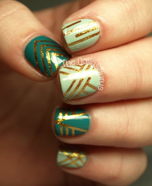 Nail tape mani by The Nailasaurus. Paint your base coat (in this case a  shiny gold), place mani tape where you want base coat to show thru, then  paint coat. - Confessing My Love Nail Tape, Gold Stripes And Gold