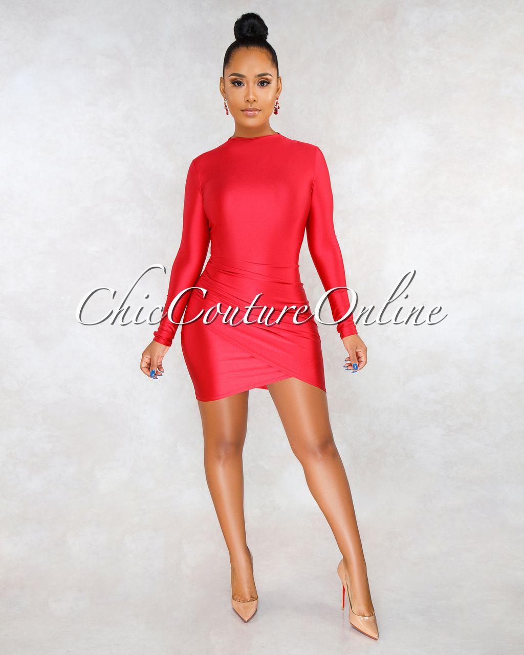 e18ff11de7a Chic Couture Online - Fantasia Red Draped Wrap Bottom Mini Dress ...