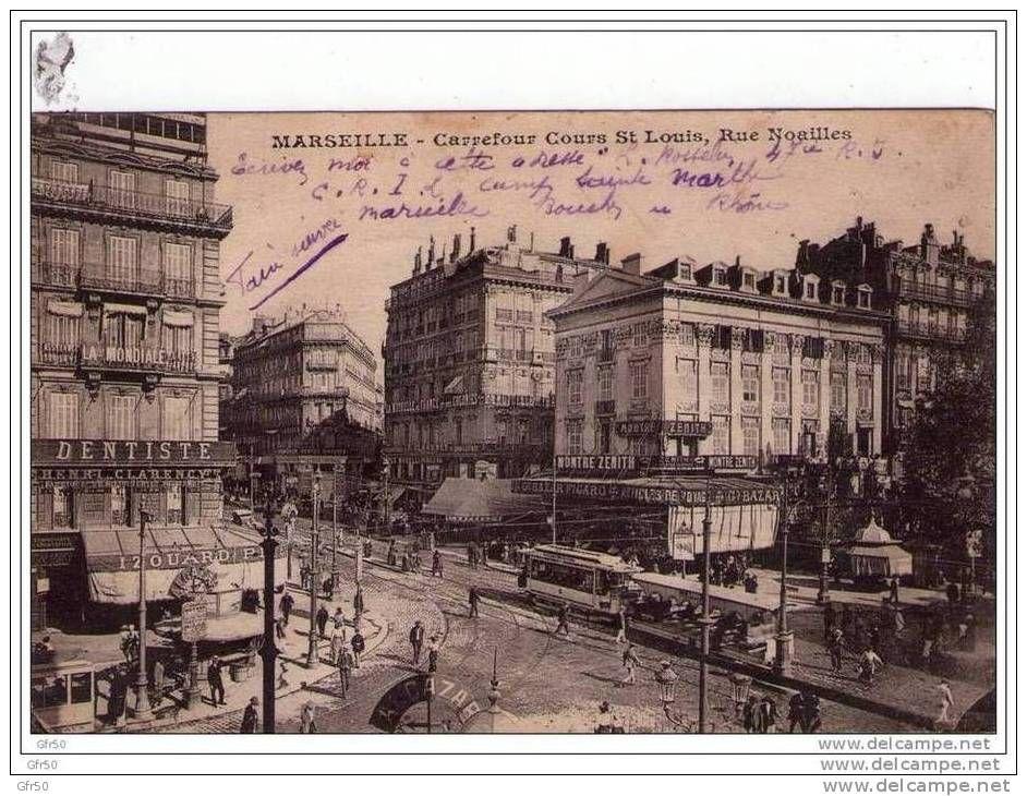 Cpa marseille carrefour cours st louis rue noailles tramway canebi re centre ville - Code postal port saint louis ...