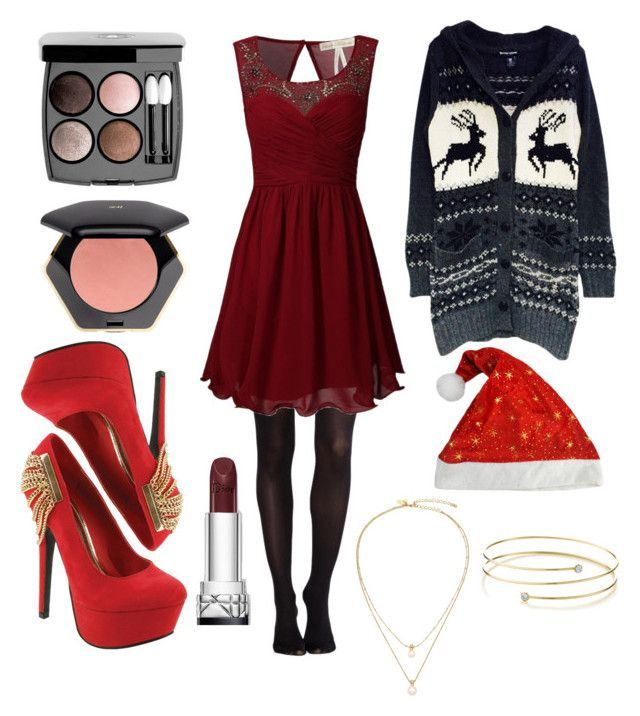 """Sans titre #118"" by agathejade on Polyvore featuring mode, SPANX, Red Circle, H&M, Chanel, Kate Spade, Elsa Peretti et Christmas"