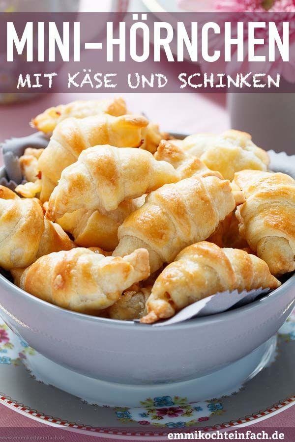 Mini Frischkäse Hörnchen mit Käse und Schinken #frühstückundbrunch