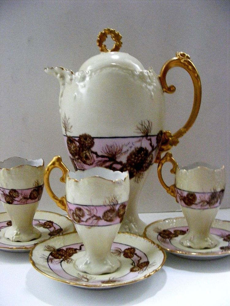 UNIQUE! 1910 LIMOGES PINE CONE CHOCOLATE POT 3 CUPS SAUCERS GILDING #Limoges