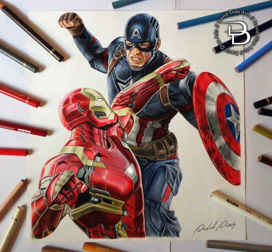 Captain America Vs Iron Man By Daviddiaspr Marvel Superheroes Art Captain America Drawing Avengers Drawings