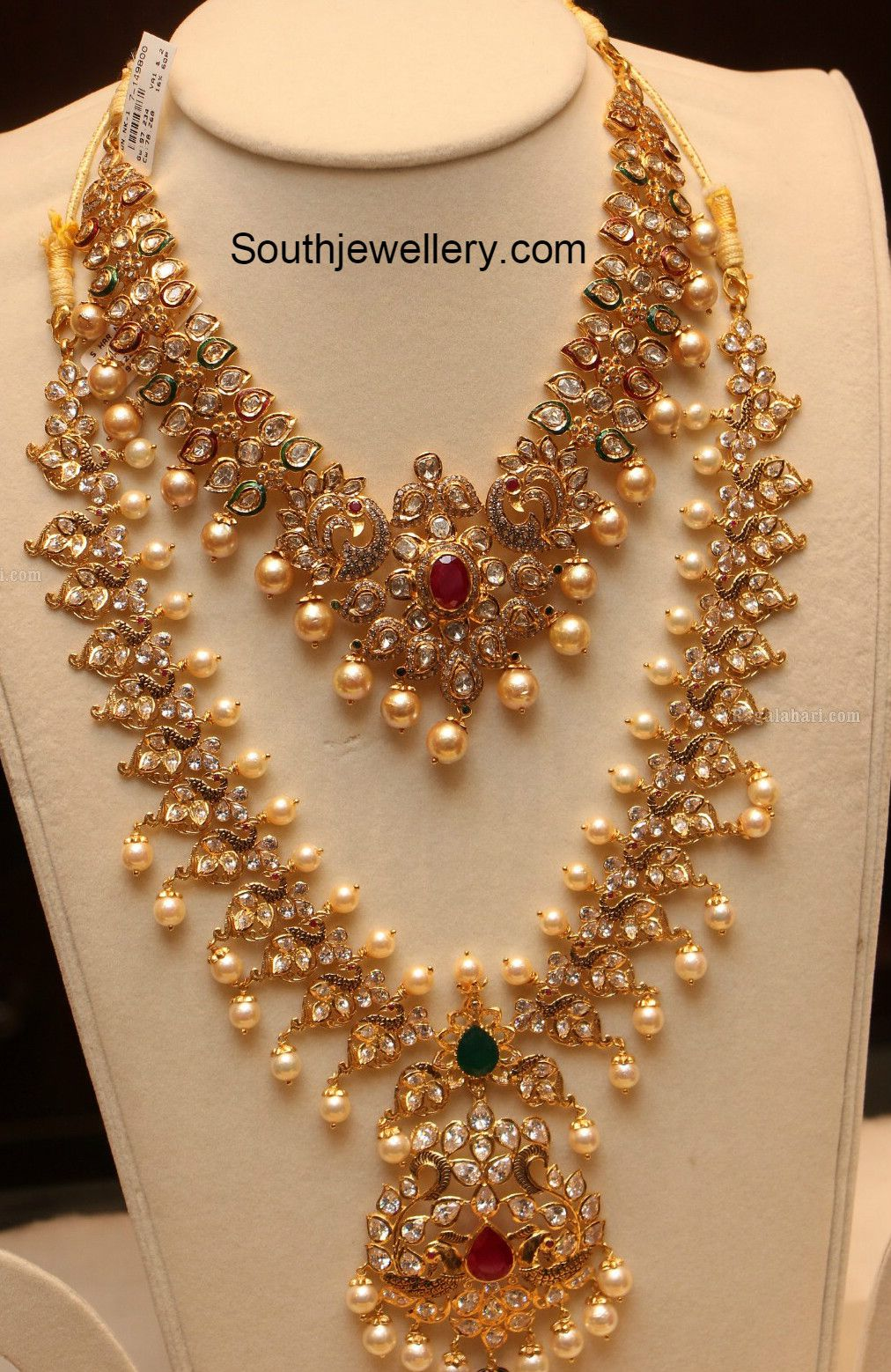 Peacock pacchi necklace and haram jewellery designs gold jewels