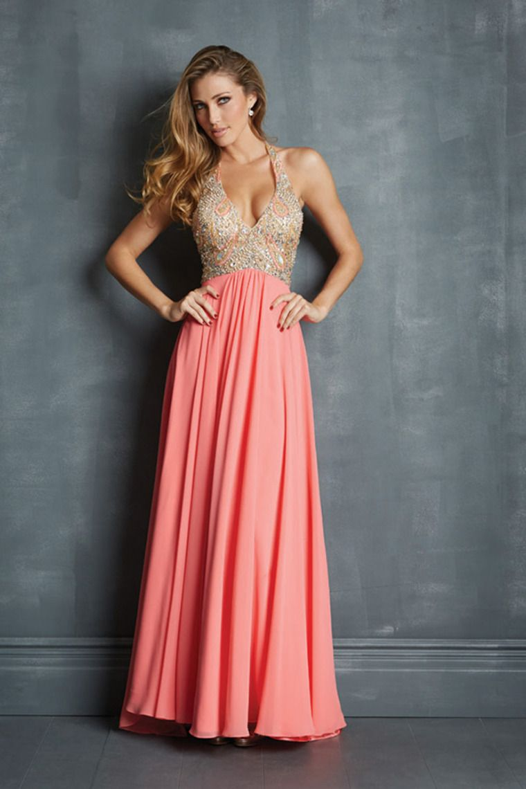 Shop 2014 Halter Beaded Bodice A Line Long Prom Dresses Sweep Train ...