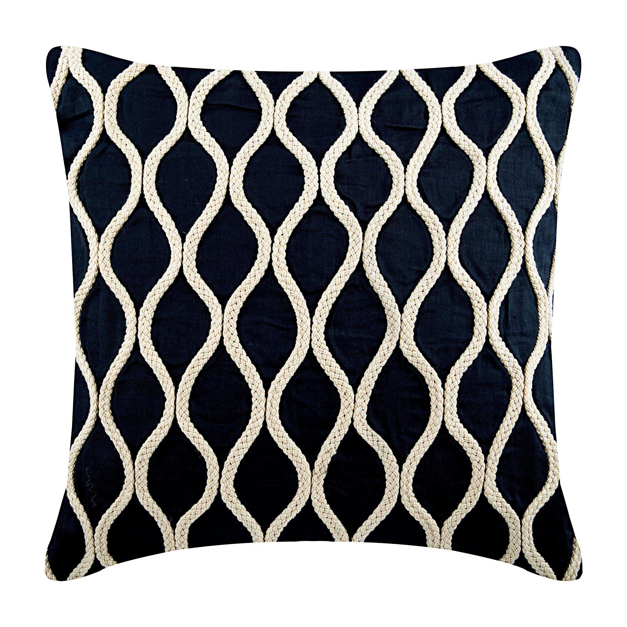 Luxury Navy Blue Decorative Pillows Cover 20 X20 Cotton Linen Pillowcase Square Jute Lattice Trellis Throw Pillows Cover Jute Chorus Https Etsy Me 2rnesm