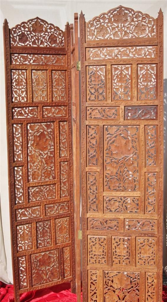 Antique Hand Carved Teak Wood 3 Panel Room Divider Screen India Leaf Pattern Room Divider Screen Wooden Screen Wooden Doors