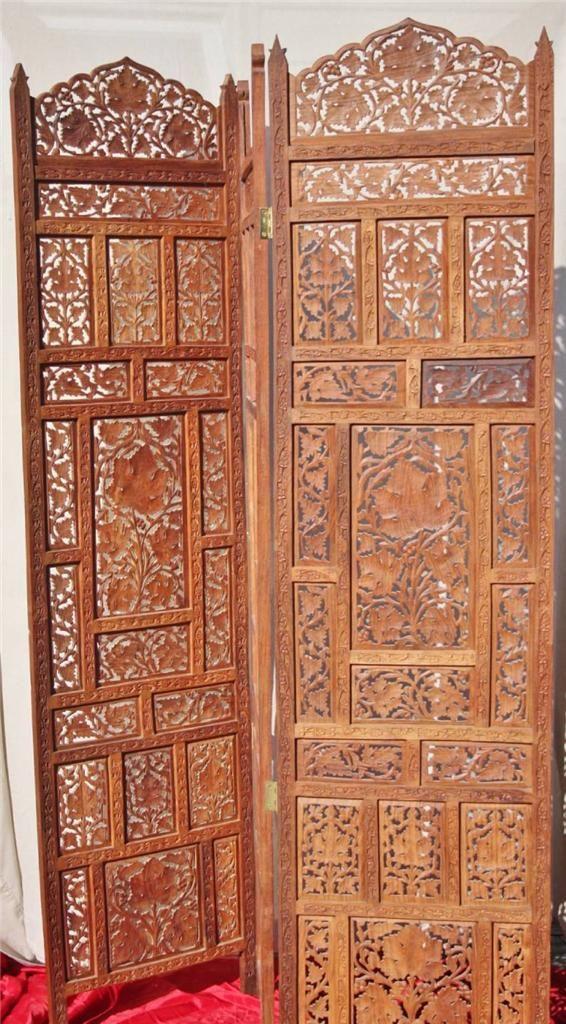 Antique Hand Carved Teak wood 3 panel Room Divider Screen India Leaf Pattern - Antique Hand Carved Teak Wood Room Divider Screen By Mauvesheep