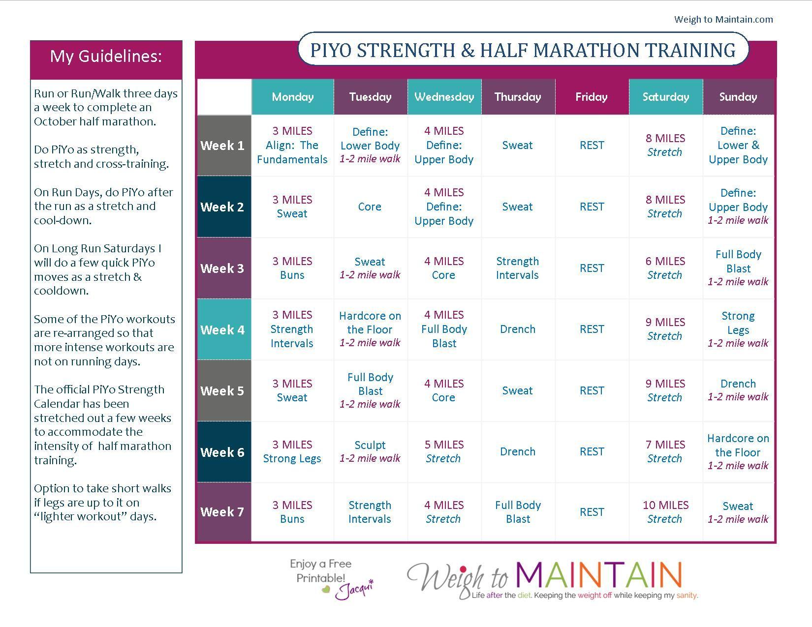Piyo And Half Marathon Training  Health  Fitness
