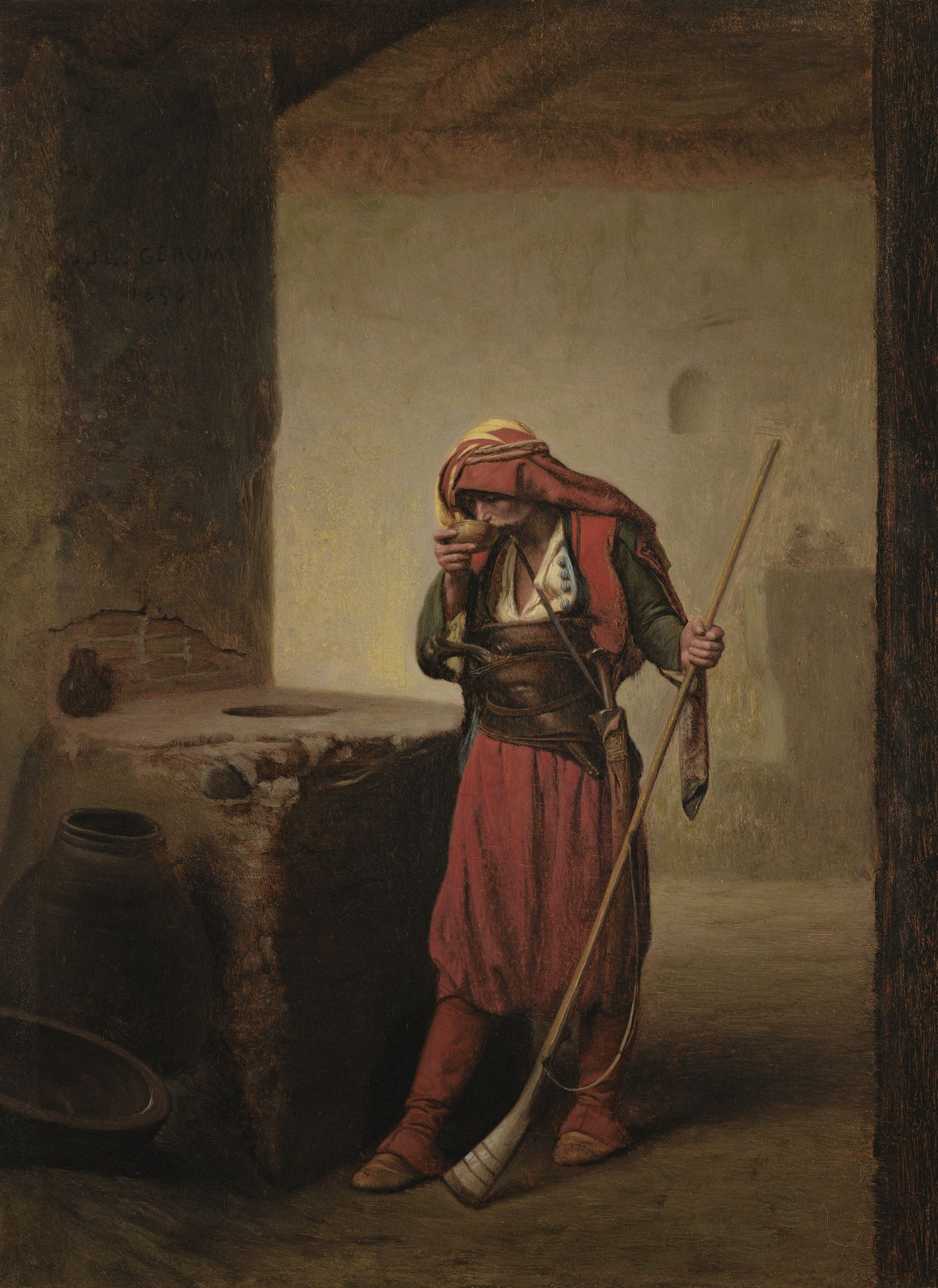 THE SULTAN/'S TOMB 1890 FLAGS PRAYER ARAB ORIENTALIST PAINTING BY GEROME REPRO