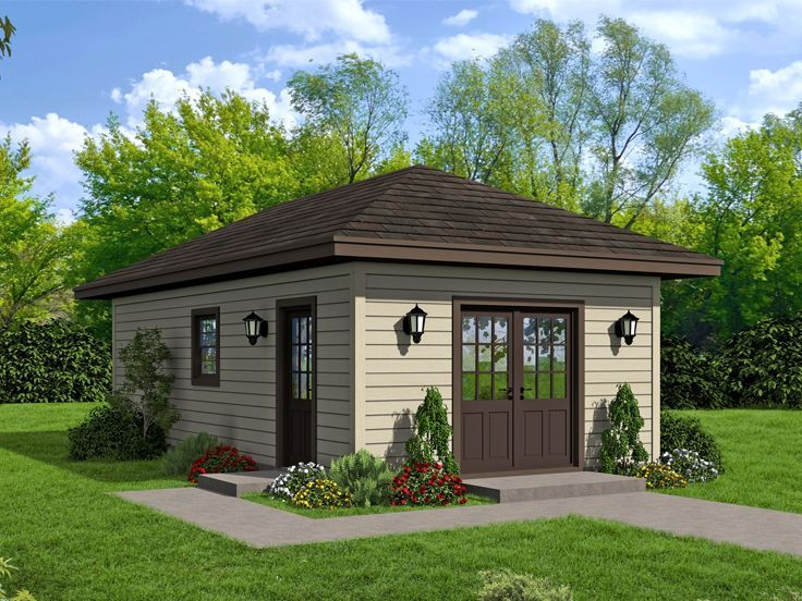 062b 0002 Workshop Plan With Storage Area And Full Bath Workshop Plans Pool House Plans House Plans