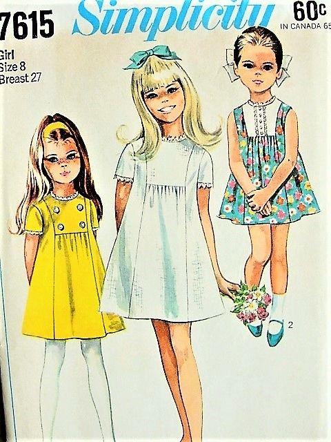 1960s ADORABLE Girls Dress Pattern SIMPLICITY 7615 Three Sweet ...